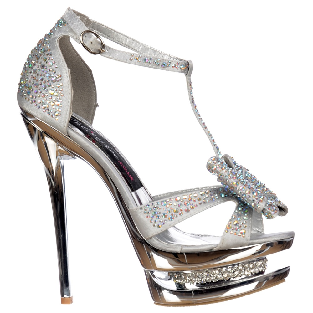 Onlineshoe Diamante Crystal Jewelled Bow High Heel - Diamante