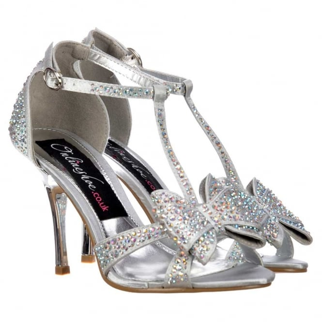 Onlineshoe Diamante Crystal T-Bar Mid Heel - Diamante Jewelled Bow - Silver Diamante
