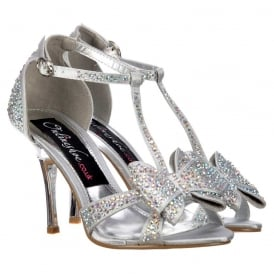 Diamante Crystal T-Bar Mid Heel - Diamante Jewelled Bow - Silver Diamante
