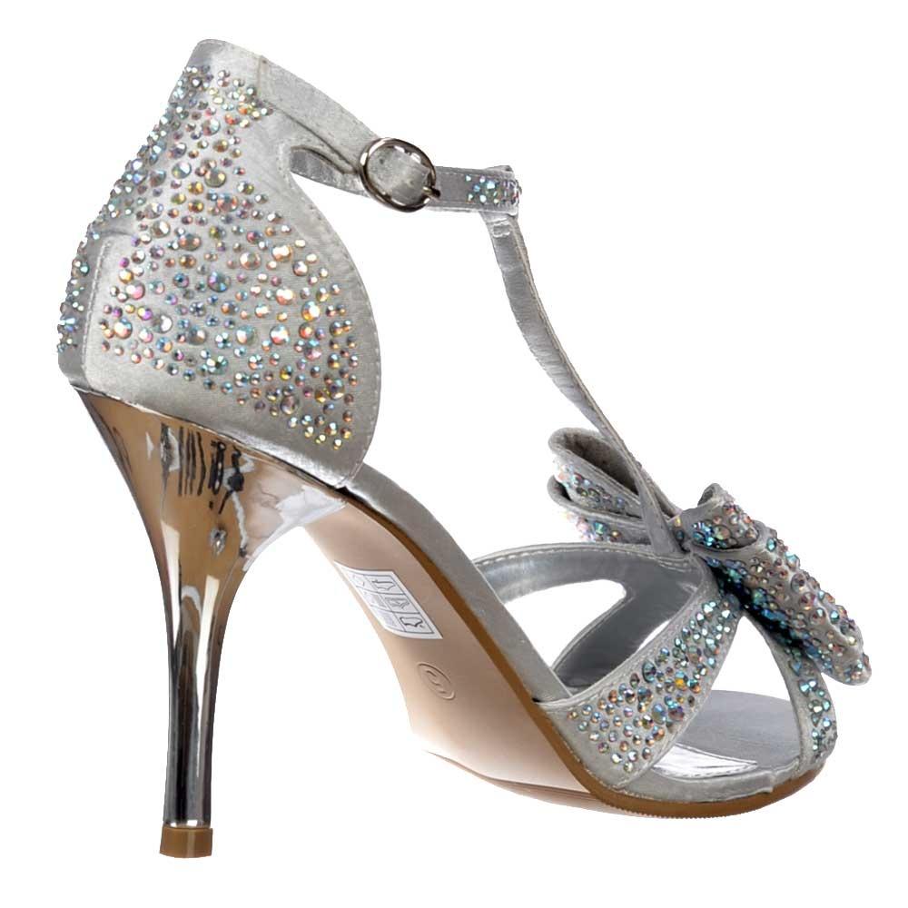 40bca4506ba Diamante Crystal T-Bar Mid Heel - Diamante Jewelled Bow - Silver Diamante