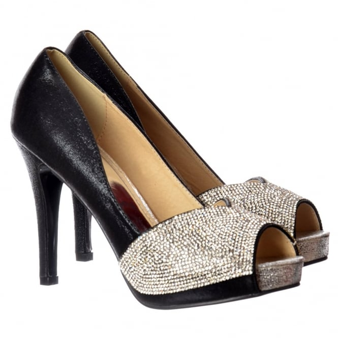 Onlineshoe Diamante Encrusted Peep Toe Mid Heel Party Shoe - Gold, Silver, Black