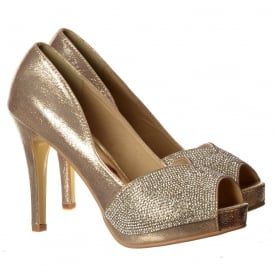 Diamante Encrusted Peep Toe Mid Heel Party Shoe - Gold, Silver, Black