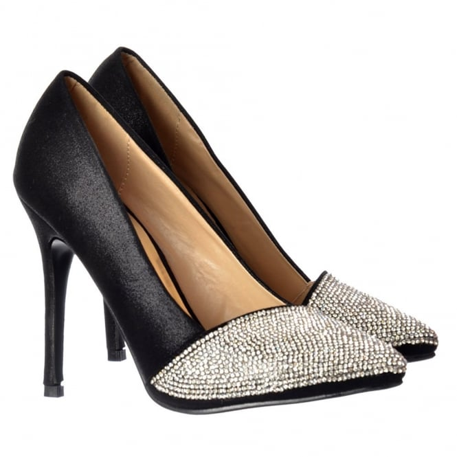 Onlineshoe Diamante Encrusted Pointed Toe Mid Heel Party Shoes - Silver, Black