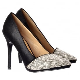 Diamante Encrusted Pointed Toe Mid Heel Party Shoes - Silver, Black