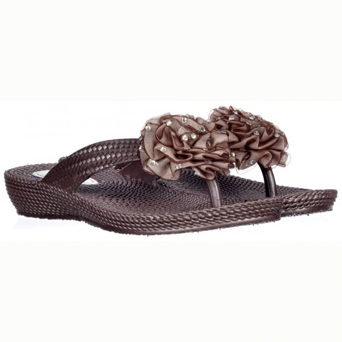 Onlineshoe Diamante Flower Flat Flip Flop - Comfortable Soft Sole - Brown Diamante