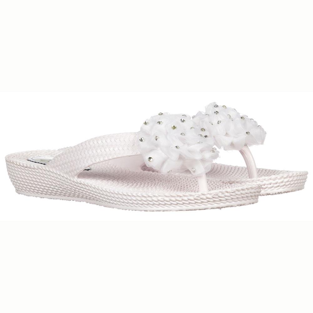 Onlineshoe Diamante Flower Flat Flip Flop Comfortable Soft Sole