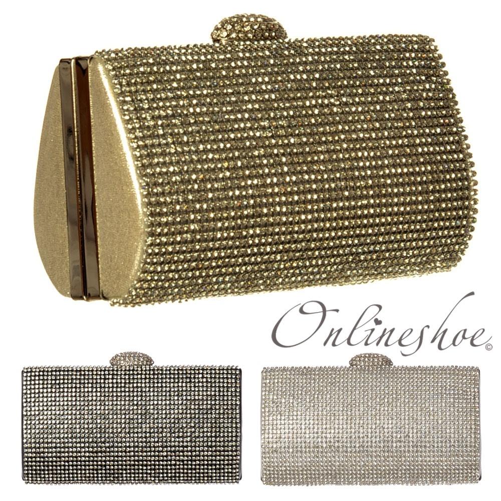 7a57387810 Diamante Rhinestone Hard Case Evening Clutch Handbag Purse - Gold Diamante