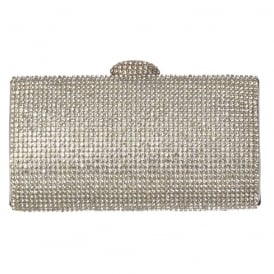 Diamante Rhinestone Hard Case Evening Clutch Handbag Purse - Gold Diamante, Silver Diamante, Black Diamante