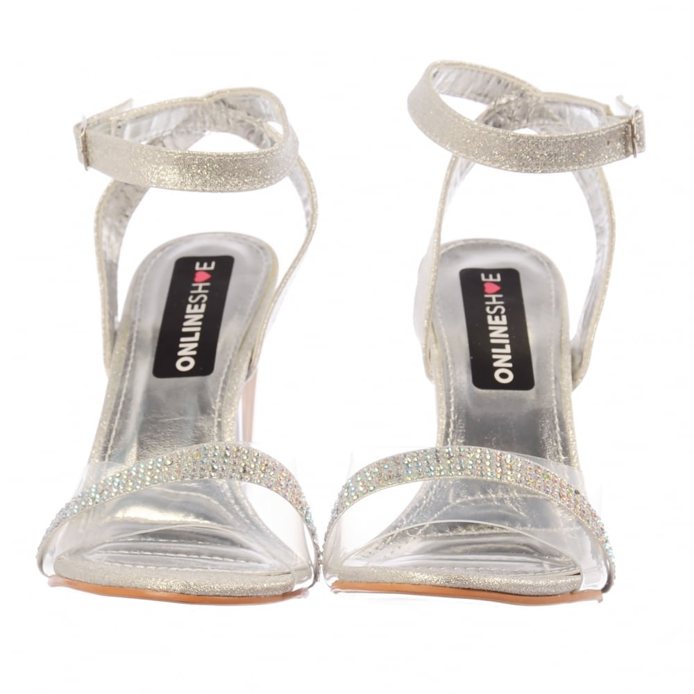 95b8ddf13d1 Onlineshoe Diamante Strappy Perspex Mid Heel Party Sandal - WOMENS ...
