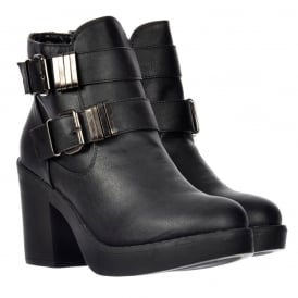 Double Buckle Chelsea Ankle Boot With Block Heel - Black