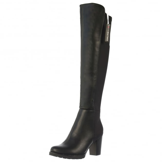 Onlineshoe Elasticated Stretch Mid Heel Full Knee High Winter Boot