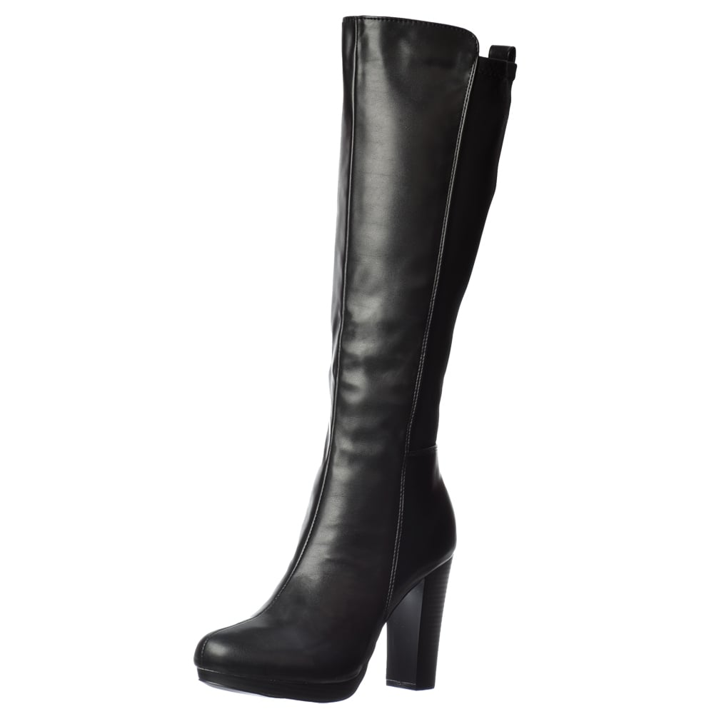 e5758379fb7 Elasticated Stretch Mid Heel Knee High Winter Boot - Black, Brown, Black  With Buckle