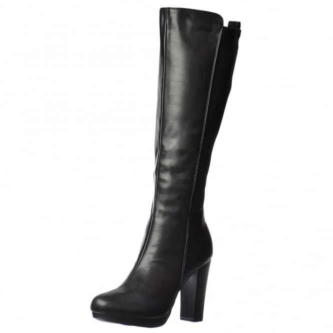 Onlineshoe Elasticated Stretch Mid Heel Knee High Winter Boot - Black, Brown, Black With Buckle