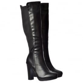Elasticated Stretch Mid Heel Knee High Winter Boot - Black, Brown, Black With Buckle