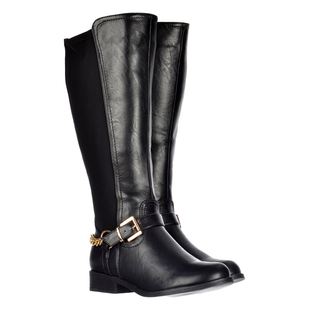 8e7963276 Onlineshoe Extra Wide Calf Knee High Flat Riding Boot - Gold Buckle ...