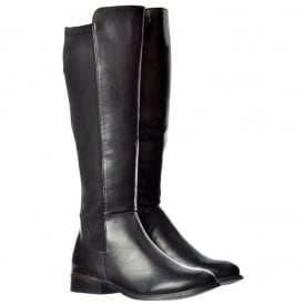 Extra Wide Calf Stretch Knee High Flat Riding Boot - Gold Heel Detail - Black, Dark Brown