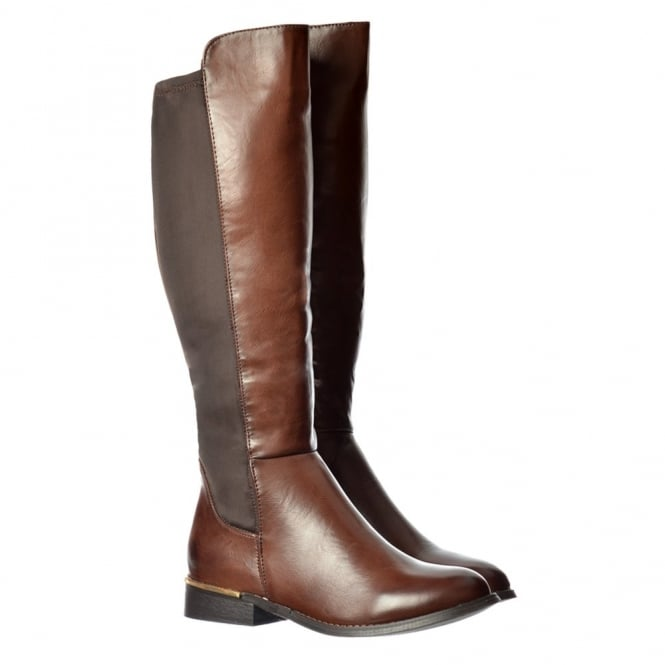 Onlineshoe Extra Wide Calf Stretch Knee High Flat Riding Boot - Gold Heel Detail - Black, Dark Brown