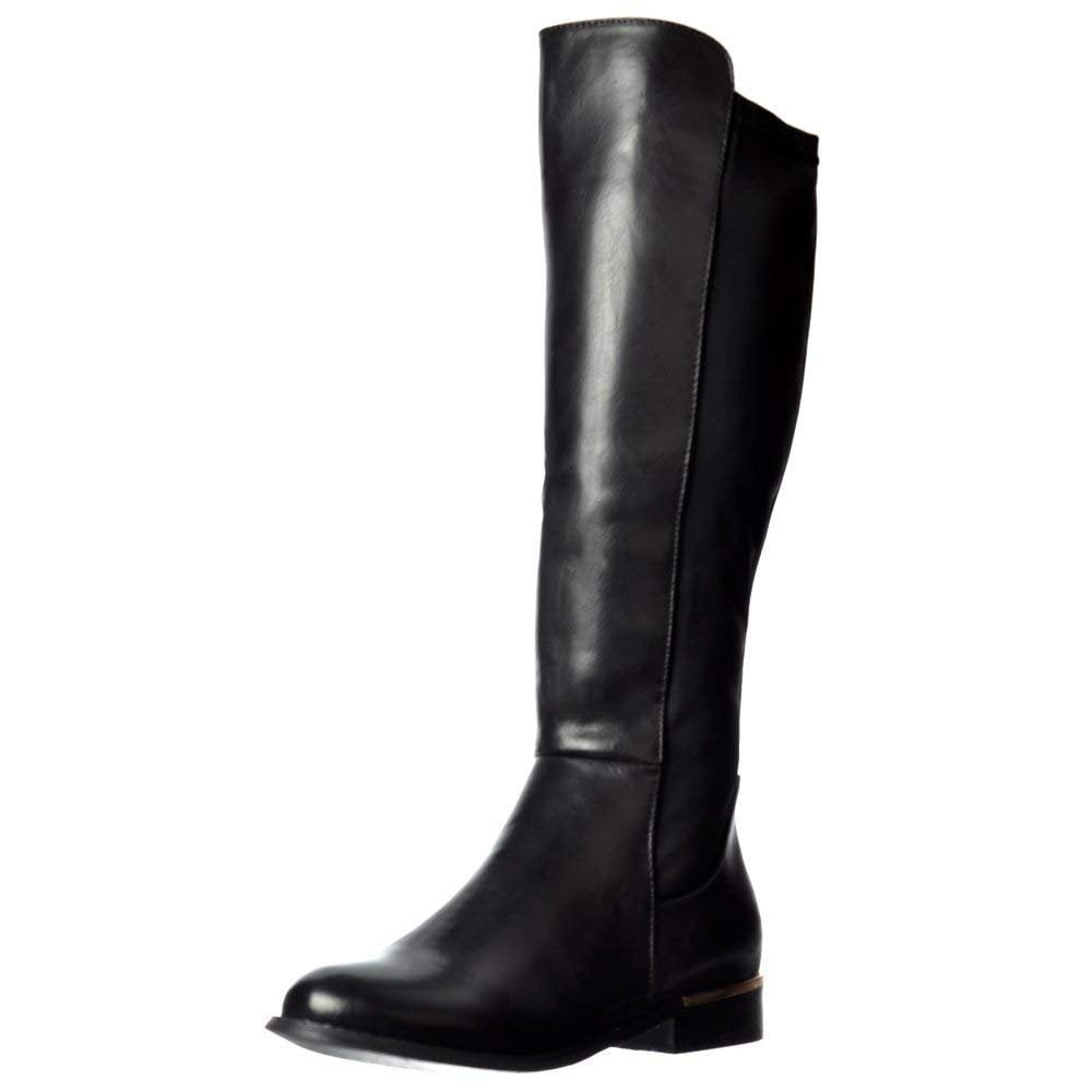 9269dd87f12d Onlineshoe Extra Wide Calf Stretch Knee High Flat Riding Boot - Gold ...