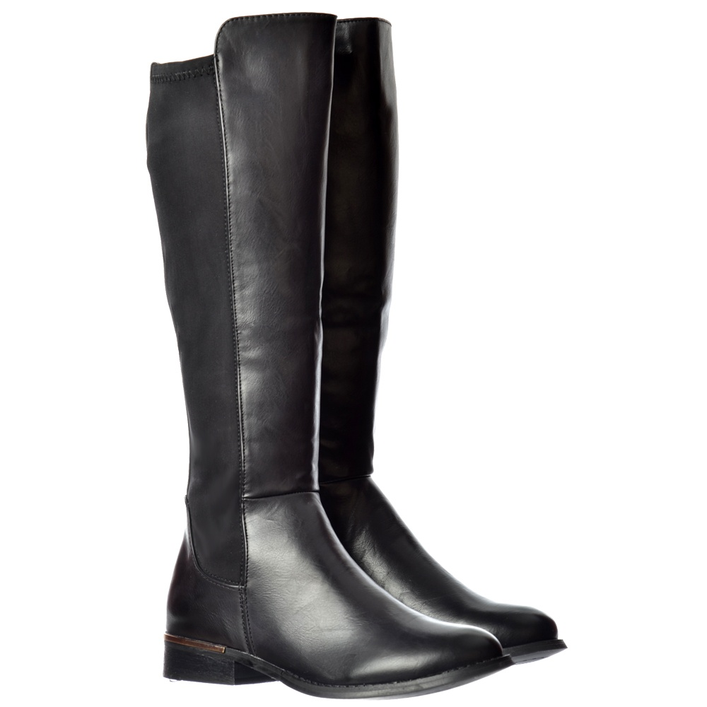 700ce1c4398 Onlineshoe Extra Wide Calf Stretch Knee High Flat Riding Boot - Gold ...