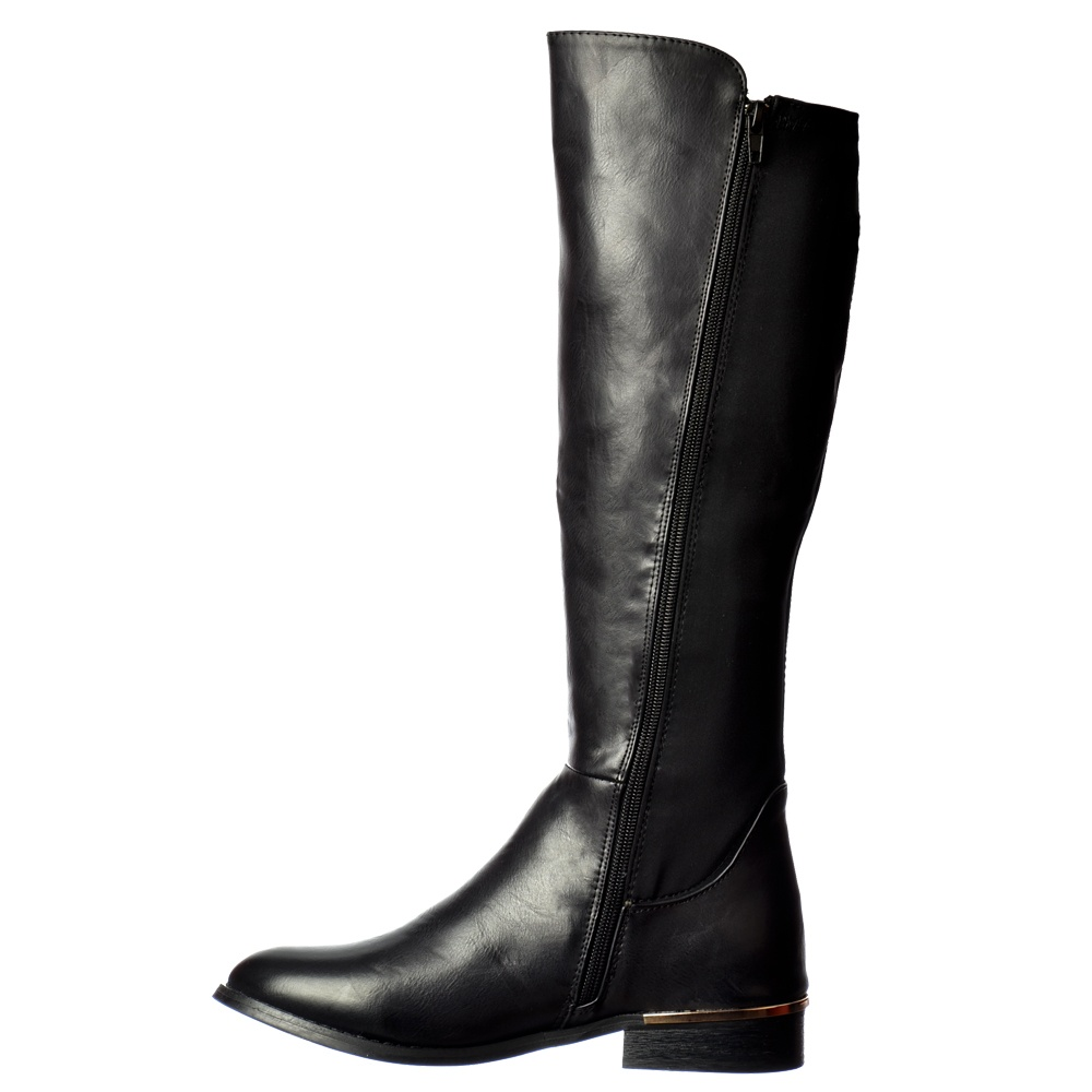 4a00cc87677f2 Onlineshoe Extra Wide Calf Stretch Knee High Flat Riding Boot - Gold ...