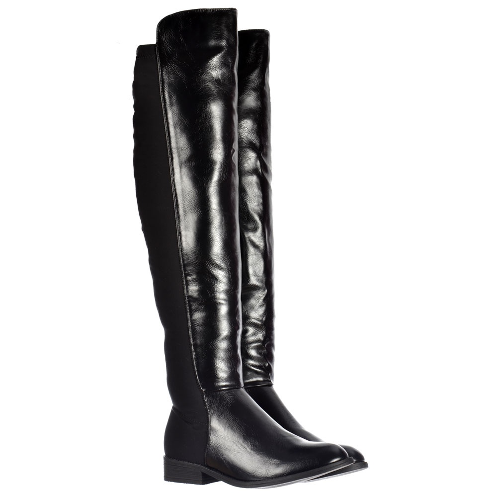 0e49dc191be2 Extra Wide Stretch Over The Knee Thigh High Flat Riding Boot - Black PU