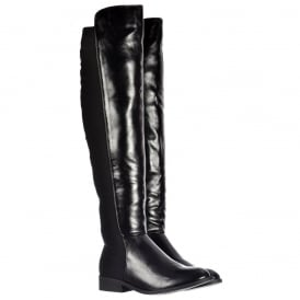 Extra Wide Stretch Over The Knee Thigh High Flat Riding Boot - Black PU