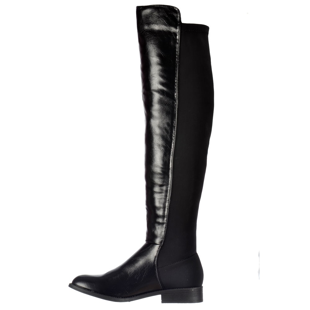 d9229c05a Extra Wide Stretch Over The Knee Thigh High Flat Riding Boot - Black PU