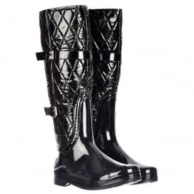 Flat Padded Inner Quilted Wellington Riding Rain Boots - Black Patent Quilted