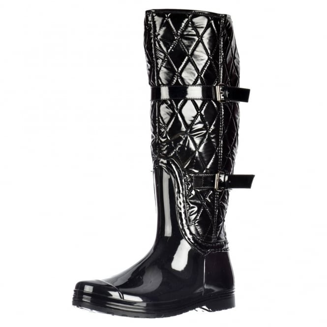 Onlineshoe Flat Padded Inner Quilted Wellington Riding Rain Boots