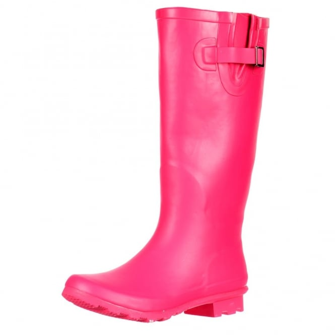 Onlineshoe Flat Wide Calf Wellie Wellington Festival Rain Boots - Hot Pink
