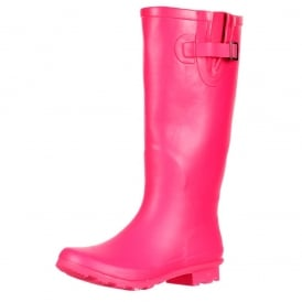 Flat Wide Calf Wellie Wellington Festival Rain Boots - Hot Pink
