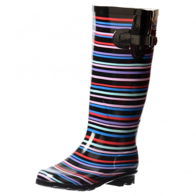 Onlineshoe Flat Wide Calf Wellie Wellington Festival Rain Boots - Multi Striped / Black Patent