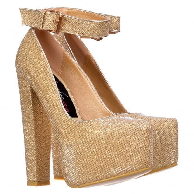 Onlineshoe Glitter Block High Heel - Ankle Strap With Buckle - Silver Glitter, Gold Glitter