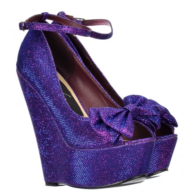 Onlineshoe Glitter Wedge Platform Shoes Ankle Strap - Peep Toe Bow - Gold, Silver, Purple, Dark Nude
