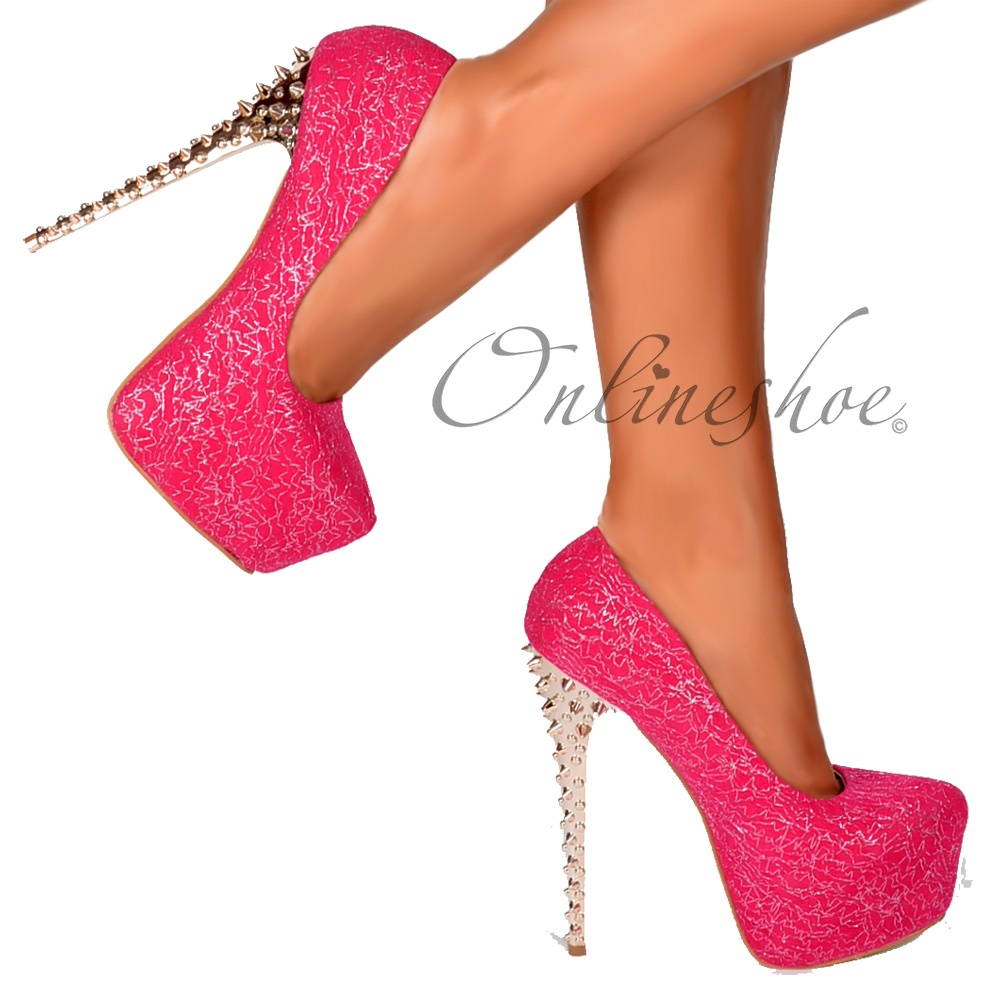 Onlineshoe Gold Chrome Spiked Studded High Heel - Fuchsia Pink