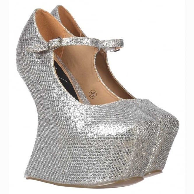 Onlineshoe Heel Less Mary Jane - High 'Lady Gaga' Platform Shoes - Silver Glitter