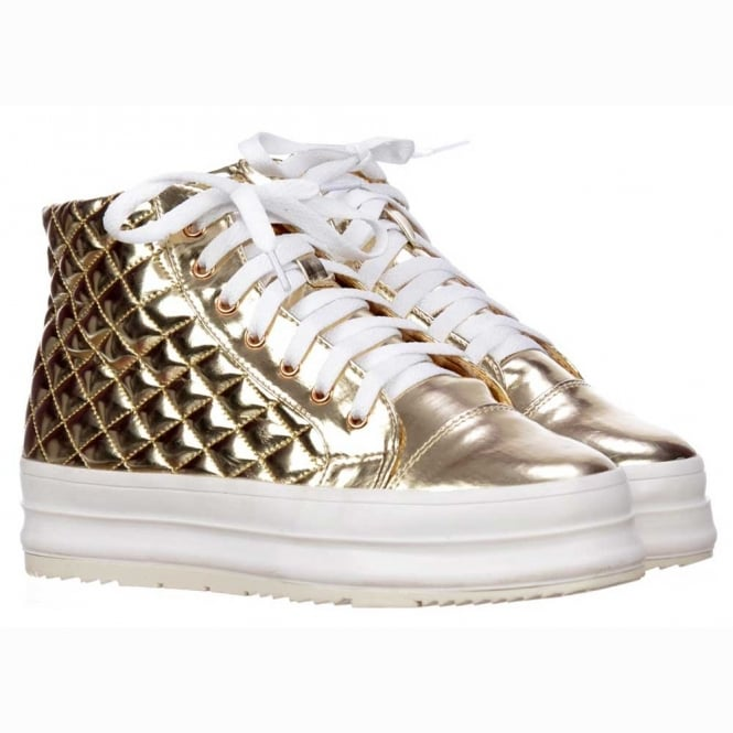 Onlineshoe Hi-Top Trainers - Flat Platform Lace Ups - Metallic Gold