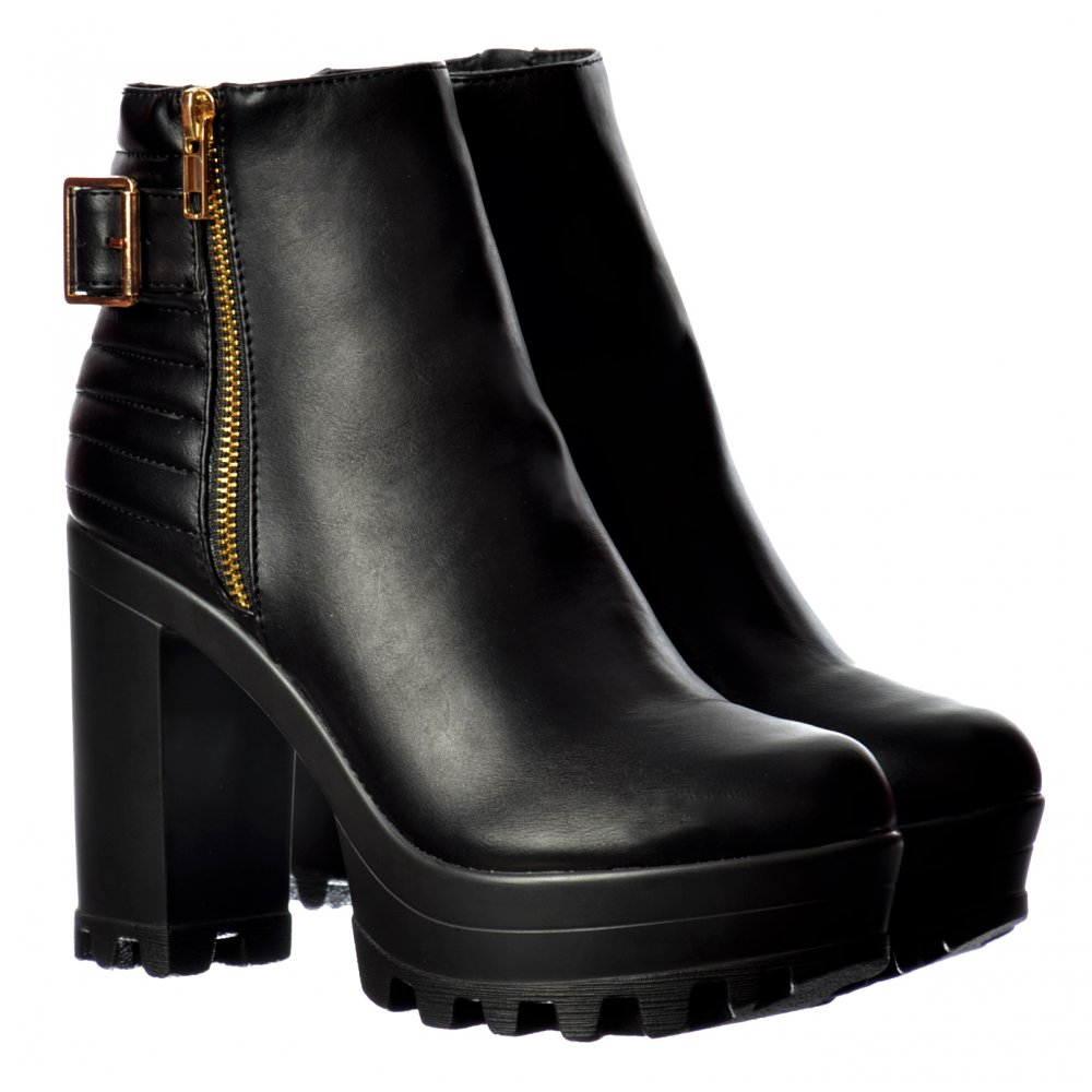 Heel Platform Ankle Boots - Gold Zip