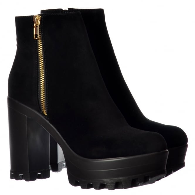 Onlineshoe High Heel Platform Ankle Boots - Gold Zip Feature Cleated Sole - Black PU, Black Suede