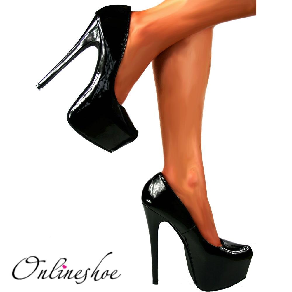High Heel Stiletto Concealed Platform High Heel Shoes - Jet Black Patent