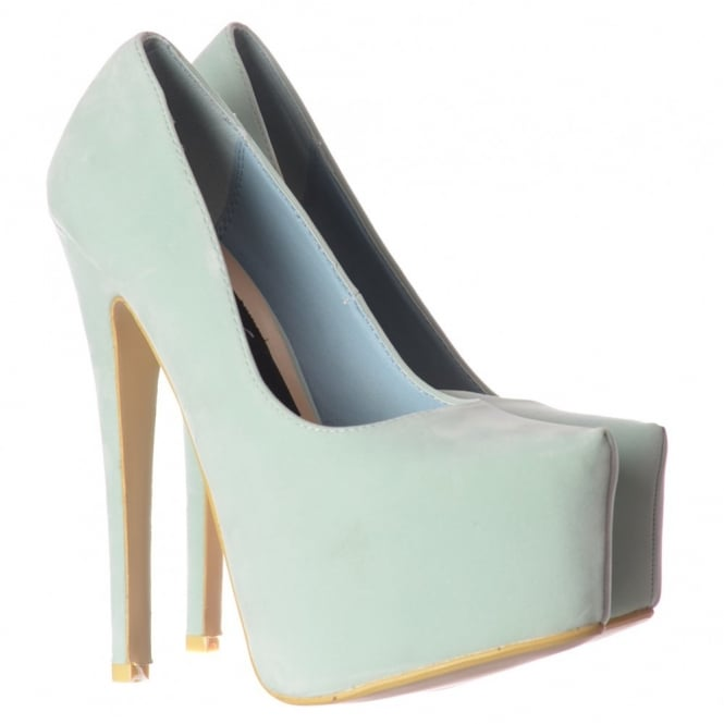 Onlineshoe High Heel Stiletto Concealed Platform Party Shoes - Mint Pastel Suede
