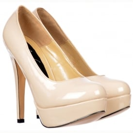 High Heel Stiletto Platform - Party Shoes - Nude Patent