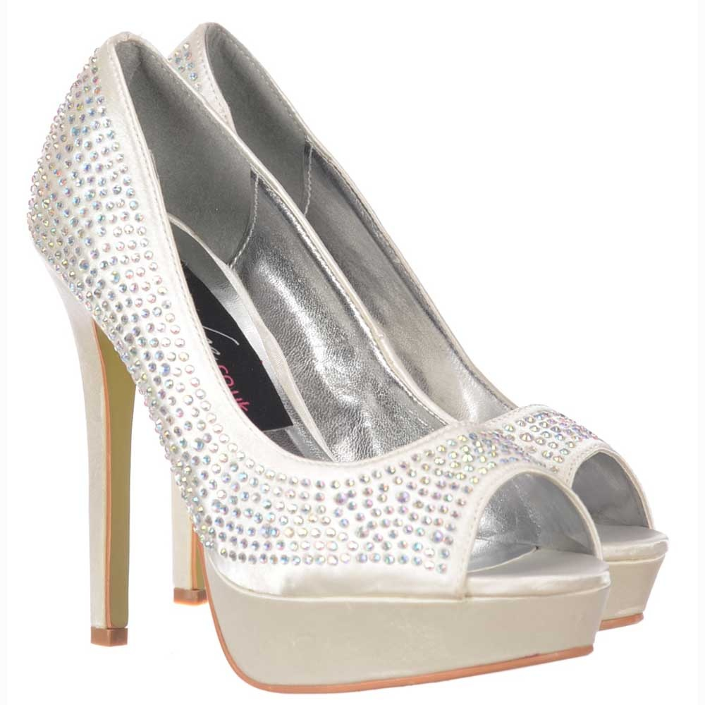 onlineshoe ivory peep toe diamante stiletto platform