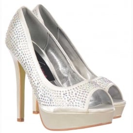 Ivory Peep Toe Diamante Crystal Stiletto Platform Bridal Shoes - Ivory Satin
