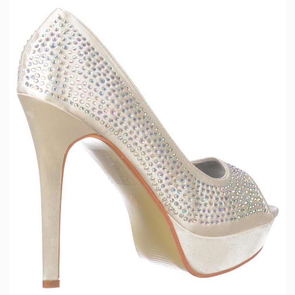 fc1da1f9a Ivory Peep Toe Diamante Crystal Stiletto Platform Bridal Shoes - Ivory Satin