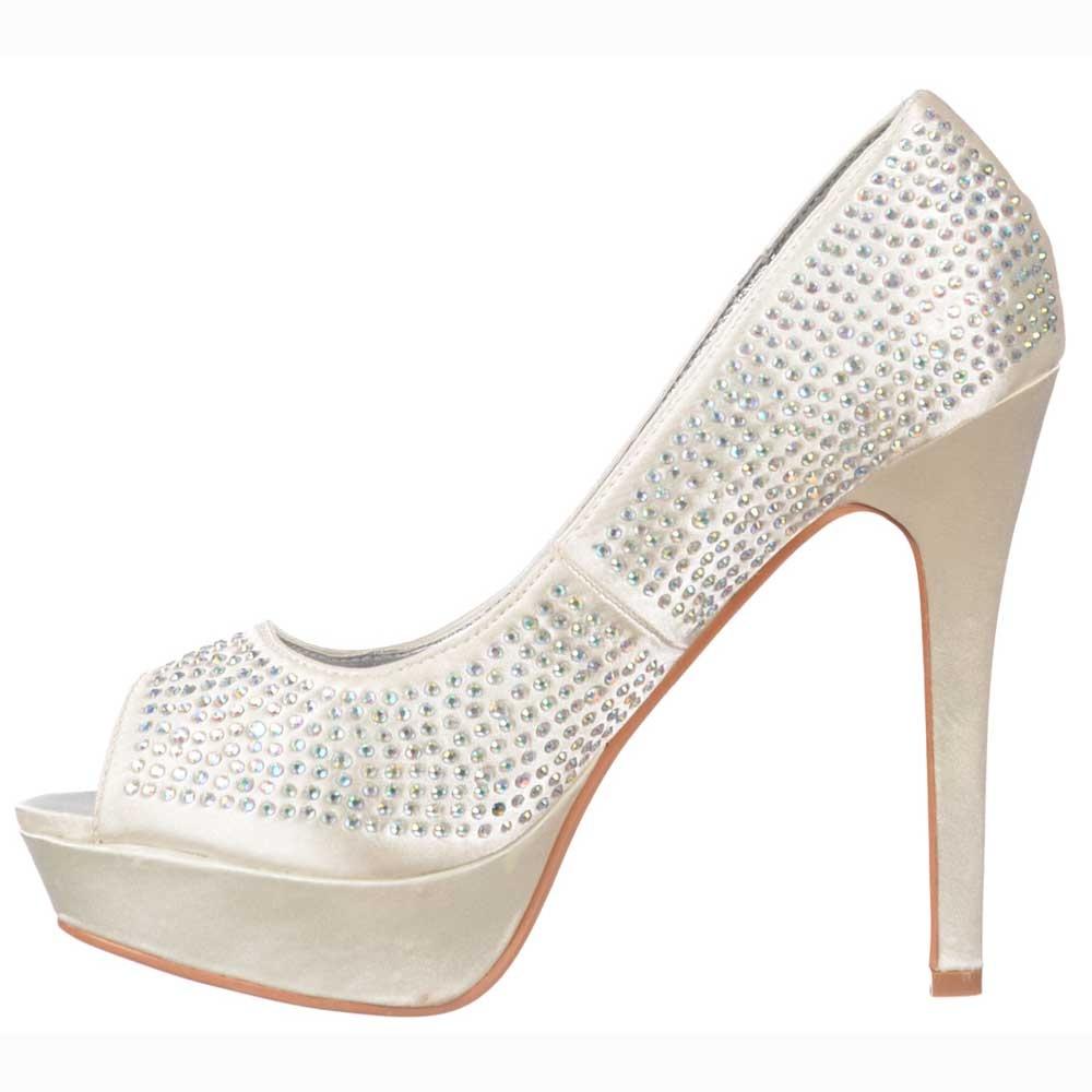 Ivory Peep Toe Diamante Crystal Stiletto Platform Bridal Shoes