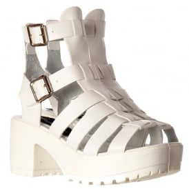 Kendal Cut Out Gladiator Hologram Summer Sandals - High Ankle Strappy Buckles - Black, White, Silver, Pink