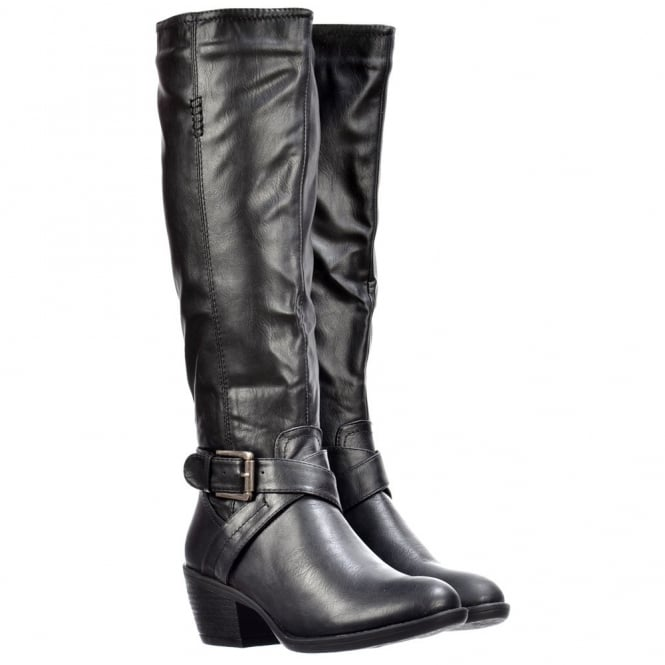 Onlineshoe Knee High Biker Boots With Buckle and Straps Feature - Black, Tan Brown