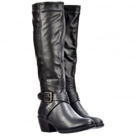 Knee High Biker Boots With Buckle and Straps Feature - Black, Tan Brown
