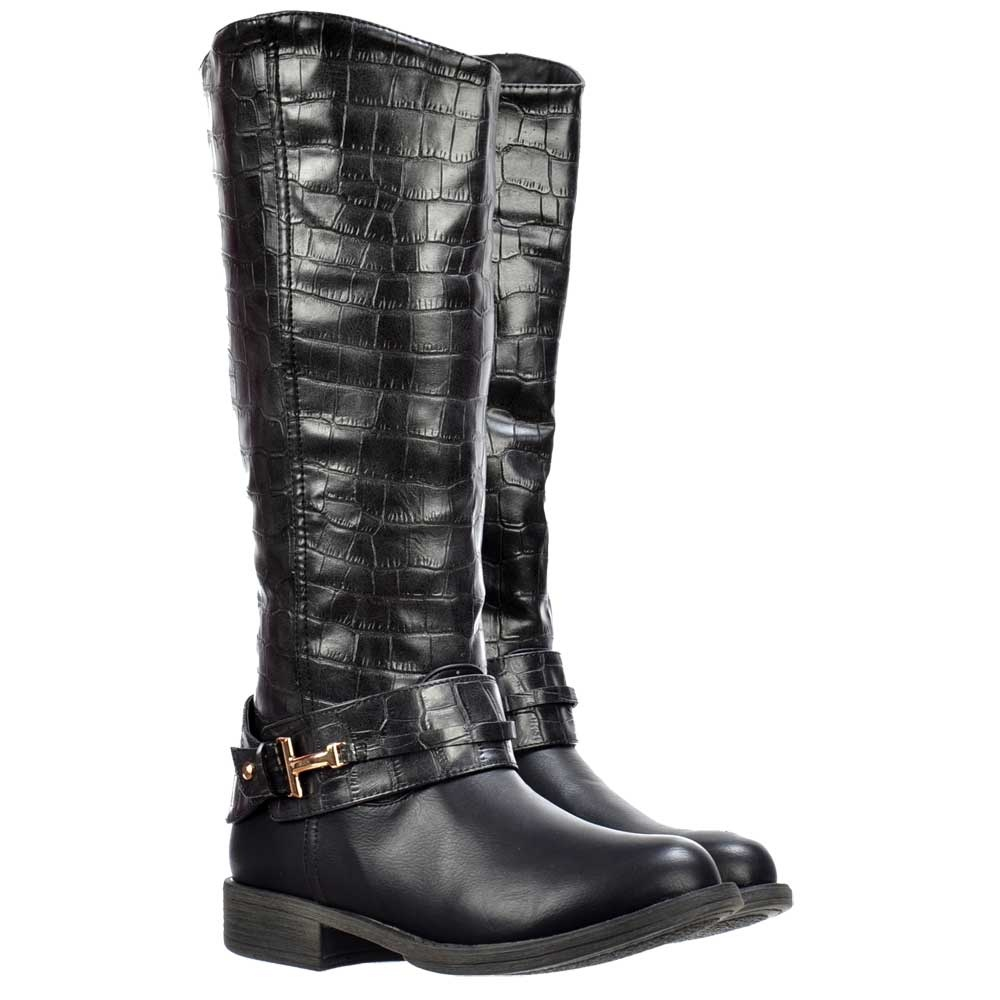 choose original cheapest price limited style Knee High Flat Boots With Crocodile Print Upper - Black, Tan Brown